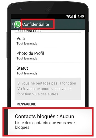whatsapp bloquer un contact