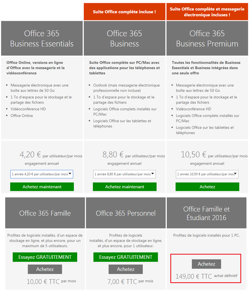 Office 365 tarifs Office 2016